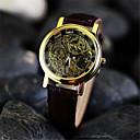 זול שעוני גברים-בגדי ריקוד גברים שעוני שלד שעון יד שעון מכני מכני ידני עור חום חריתה חלולה אנלוגי קסם - שחור כסף מוזהב