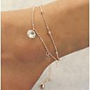 baratos Bijuterias para o Corpo-Tornezeleira - Imitações de Diamante Dupla camada Dourado Para Presentes de Natal Diário Casual Mulheres