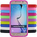 baratos Capinhas para Galaxy Série S-Capinha Para Samsung Galaxy Samsung Galaxy Capinhas Antichoque Capa traseira Côr Sólida Silicone para S6