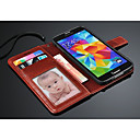 cheap HDMI Cables-Case For Samsung Galaxy Samsung Galaxy Case Wallet / Card Holder / with Stand Full Body Cases Solid Colored PU Leather for S5