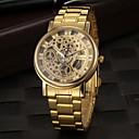 preiswerte Uhren Herren-Herrn Uhr Totenkopfuhr Armbanduhr Quartz Edelstahl Gold Transparentes Ziffernblatt Analog Charme Golden