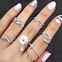 povoljno Prstenje-Žene Posude Prestenje knuckle ring Rings Set Umjetno drago kamenje Imitacija dijamanta Legura Leaf Shape Cvijet dame Neobično Jedinstven dizajn Osnovni Moda Modno prstenje Jewelry Zlato / Pink Za