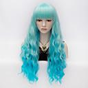 hesapli Makyaj ve Tırnak Bakımı-Sentetik Peruklar Kinky Curly Bantlı Sentetik Saç Mavi Peruk Kadın's Çok uzun Mavi