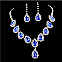 cheap Necklaces-Sapphire Crystal Tassel Pear Cut Jewelry Set Cubic Zirconia, Imitation Diamond Ladies, Party, Fashion, Colorful Include Gold / Blue For Wedding Party Special Occasion Anniversary Birthday Engagement
