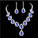 voordelige Ketting-Saffier Kristal Kwastje Peer Sieraden set Kubieke Zirkonia, Gesimuleerde diamant Dames, Feest, Modieus, Kleurrijk omvatten Goud / Blauw Voor Bruiloft Feest Speciale gelegenheden  Vuosipäiv
