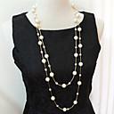 preiswerte Mehrreihen Halskette-Damen Stränge Halskette Layered Ketten Perlenkette Mehrlagig Mehrlagig Perlen Künstliche Perle Silber Golden Modische Halsketten Schmuck Für Hochzeit Party Alltag Normal