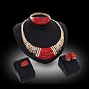 levne Chytré hodinky-Šperky Set Zirkon Prohlášení, dámy, Luxus, Vintage, Party, Skládaný Zahrnout Nastavitelný kroužek Zlatá / Červená Pro Svatební Párty Zvláštní příležitosti Výročí Narozeniny Dar / Küpeler