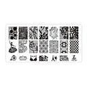 hesapli Makyaj ve Tırnak Bakımı-5 pcs Tırnak Takısı Damgalama Plakası tırnak sanatı Manikür pedikür Günlük Çiçek / Moda / damgalama Plaka / Nail Jewelry / Metal
