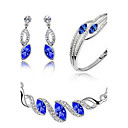 cheap Women's Watches-Crystal Jewelry Set - Party, Work, Casual Include Dark Blue / Green / Light Blue For Party / Birthday / Engagement / Earrings / Necklace