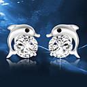 hesapli Vücut Takıları-Kristal Vidali Küpeler - Som Gümüş, Kristal, Gümüş Yunus, Hayvan Bayan, Moda Mücevher Gümüş Uyumluluk Düğün Parti Günlük Maskeli Balo Nişan Partisi Balo