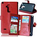 baratos Capinhas para Nokia-Capinha Para LG Capinha LG Porta-Cartão Carteira Com Suporte Flip Capa Proteção Completa Côr Sólida Rígida PU Leather para