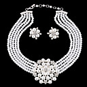 olcso Divat nyaklánc-Női Ékszer készlet Virág hölgyek Luxus Európai Divat Születési kövek Elegáns Gyöngy Strassz Ezüstözött Fülbevaló Ékszerek Fehér Kompatibilitás Esküvő Parti Álarcos mulatság Eljegyzés Diákbál Ígéret