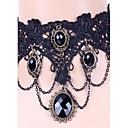 hesapli Şarj Aletleri-Kadın's Sentetik safir Değerli Taş Doğal Siyah Gerdanlıklar / Gotik Takı / Dövme Choker - Dantel Dövme Stili, Gotik, Moda Siyah Kolyeler Mücevher Uyumluluk Düğün, Parti, Günlük