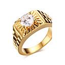 hesapli Küpeler-Erkek Bildiri Yüzüğü - Zirkon, Altın Kaplama Moda 7 / 8 / 9 Altın Uyumluluk Yılbaşı Hediyeleri / Düğün / Parti