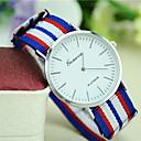 baratos Relógios Femininos-Homens / Mulheres / Unisexo Relógio de Moda Tecido Banda Listras Preta / Branco / Vermelho