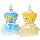 preiswerte Bekleidung & Accessoires für Hunde-Hund Kleider Hundekleidung Schleife Cartoon Design Gelb Blau Rosa Baumwolle Kostüm Für Haustiere Herrn Damen Modisch