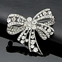 cheap Brooches-Women's Brooches - Crystal, Cubic Zirconia Bowknot Work, Fashion, Cute Brooch Silver For Wedding / Party / Special Occasion