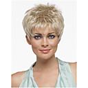 hesapli Makyaj ve Tırnak Bakımı-Sentetik Peruklar Düz Pixie Cut / Bantlı Sentetik Saç Patlama ile Sarışın Peruk Kadın's Şort Bonesiz