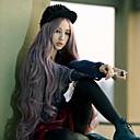 hesapli Balık Zokaları ve Sinekleri-Sentetik Peruklar Bukle / Kinky Curly / Gevşek Dalgalar Orta kısım Sentetik Saç 22 inç Doğal saç çizgisi Mor Peruk Kadın's Uzun Bonesiz Gri