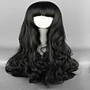 hesapli Makyaj ve Tırnak Bakımı-Sentetik Peruklar / Kostüm Perukları Gevşek Dalgalar Bantlı Sentetik Saç Siyah Peruk Kadın's Uzun Siyah