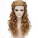 hesapli Makyaj ve Tırnak Bakımı-Sentetik Peruklar Dalgalı Sentetik Saç Kahverengi Peruk Kadın's Uzun Bonesiz Kahverengi