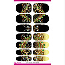 cheap Makeup & Nail Care-water transfer nail foil sticker black dream peacock feathers nail wraps sticker elegant