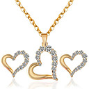 cheap Brooches-Women's Hollow Out Jewelry Set - Rhinestone Heart Ladies, Fashion Include Necklace / Earrings Gold / White For Wedding Party Daily Casual Masquerade Engagement Party