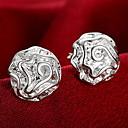 hesapli Küpeler-Kadın's Vidali Küpeler Küpe - Som Gümüş Güller, Çiçek Kişiselleştirilmiş, Moda Gümüş Uyumluluk Düğün Parti Günlük