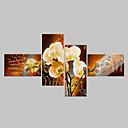 hesapli Banyo Gereçleri-Hang-Boyalı Yağlıboya Resim El-Boyalı - Çiçek / Botanik Klasik / Modern Sadece Resim / Dört Panelli / Haddelenmiş tuval