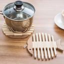 hesapli Servis Altlıkları-Çağdaş Bambu Yuvarlak Altlıklar Kırk Yama Isı Dirençli Masa Süslemeleri 1 pcs