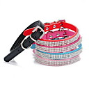 cheap Coffee Tools-Cat Dog Collar Adjustable / Retractable Rhinestone Solid PU Leather Black Rose Red Blue Pink