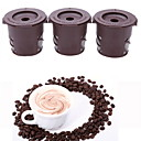 preiswerte Kaffee-Zubehör-3pcs braun clevere Kaffeekapsel wiederverwendbare Kaffeefilter Tee Edelstahl Trichter Schaufel