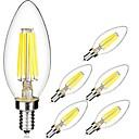 رخيصةأون مصابيح خيط ليد-6PCS 5W 560lm E14 مصابيحLED C35 6 الخرز LED COB أبيض دافئ أبيض كول 220-240V