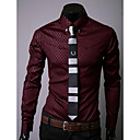cheap Men's Shirts-Men's Party / Work Cotton Slim Shirt - Patchwork / Long Sleeve