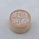Χαμηλού Κόστους Με Τύπωμα-vintage floral μοτίβο λέξη στρογγυλό ξύλινο σφραγίδα (ευχαριστώ)