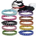 hesapli Köpek Giyim ve Aksesuarları-Kedi Köpek Yakalar Ayarlanabilir / İçeri Çekilebilir Gerçek Deri Kırmzı Yeşil Mavi Pembe Açık Mavi