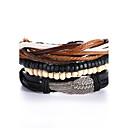 abordables Bracelets-Bracelets en cuir Homme Femme Cuir Punk Bracelet Bijoux Noir Rond pour Cadeau Valentin