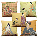 cheap Makeup & Nail Care-5 pcs Linen Natural/Organic Pillow Case Pillow Cover, Solid Floral Plaid Textured Casual Beach Style Euro Bolster Traditional/Classic