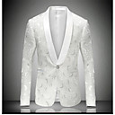 cheap Men's Bow Ties-Men's Party / Daily / Going out Street chic / Sophisticated Spring / Fall Regular Blazer Notch Lapel Long Sleeve Cotton / Polyester Print White XXL / XXXL / 4XL / Slim