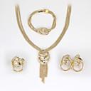preiswerte Halsketten-Damen Schmuck-Set - Strass Modisch, Euramerican Einschließen Ohrringe / Armband / Halskette / Ring Gold Für Hochzeit / Party / Jahrestag / Haken