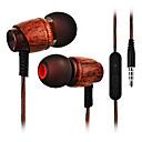 tanie Części do motocykli i quadów-Cwxuan W uchu Przewodowy / a Słuchawki Drewniany Telefon komórkowy Słuchawka z mikrofonem Zestaw słuchawkowy