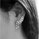 Χαμηλού Κόστους Θήκες και πορτοφόλια-Γυναικεία Cubic Zirconia Κουμπωτά Σκουλαρίκια Ορειβάτες των αυτιών - Leaf Shape Κρεμαστό κυρίες Απλός Θύσανος Κοσμήματα Χρυσό / Ασημί Για Γάμου Πάρτι Δώρο Καθημερινά Μασκάρεμα Πάρτι Αρραβώνων
