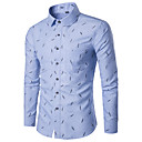 cheap Men's Shirts-Men's Slim Shirt - Geometric Print Classic Collar / Long Sleeve
