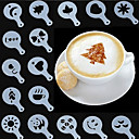 cheap Kitchen & Dining-Mold Coffee Milk Cake Cupcake Stencil Template Coffee Barista Cappuccino Template Strew Pad Duster Spray Tools