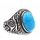 cheap Earrings-Men's Turquoise Ring - Stainless Steel Unique Design, Basic 7 / 8 / 9 / 10 / 11 Black / Blue LED For Thank You Daily Casual