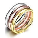 hesapli Kolyeler-Kadın's Band Yüzük / Yüzük / Nişan yüzüğü - Titanyum Çelik zarif, minimalist tarzı, Moda 6 / 7 / 8 Altın Uyumluluk Yılbaşı Hediyeleri / Düğün / Parti / Yüzük Seti