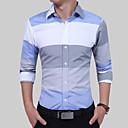رخيصةأون قمصان رجالي-رجالي عمل الأعمال التجارية بقع قطن قميص, ألوان متناوبة ياقة مفرودة نحيل الأزرق والأبيض / كم طويل