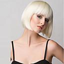 hesapli Makyaj ve Tırnak Bakımı-Sentetik Peruklar Düz Sarışın Bob Saç Kesimi / Bantlı Sentetik Saç Patlama ile Sarışın Peruk Kadın's Orta Bonesiz Sarışın