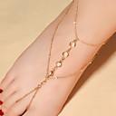 ieftine Haine Păpușă Barbie-Pentru femei Cristal Sandale Desculț picioare bijuterii Picătură Plin de graţie femei Modă Cristal Brățară Gleznă Bijuterii Auriu / Argintiu Pentru Zilnic Casual