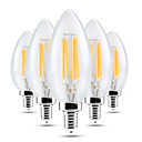 abordables LED à Double Broches-YWXLIGHT® 5pcs 4 W 300-400 lm E14 Ampoules Bougies LED C35 4 Perles LED COB Intensité Réglable Décorative Blanc Chaud Blanc Froid 220-240 V / 5 pièces